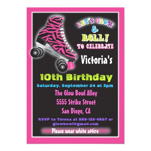 Personalized Roller skating Invitations CustomInvitations4Ucom
