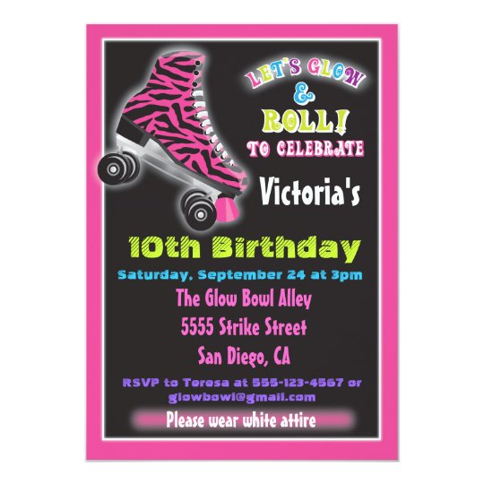 Glow In The Dark Roller Skating Party Invitations Zazzle Com