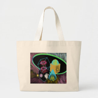 Glow in the dark shapes surrounded by space dust jumbo tote bag