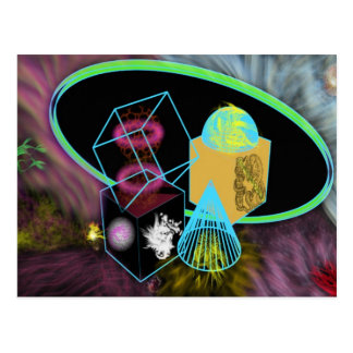 Glow in the dark shapes surrounded by space dust postcard