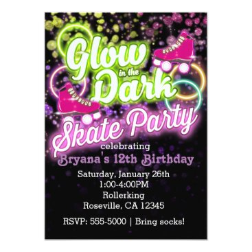 Beach Themed GLOW in the dark SKATE PARTY Birthday Invitation