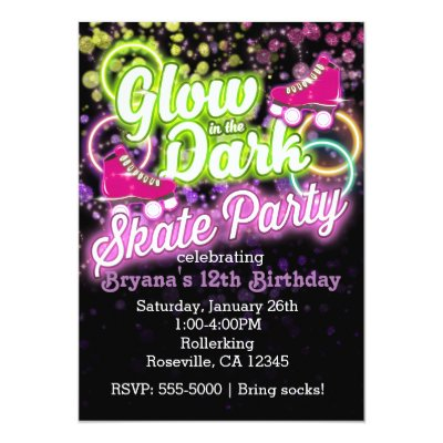 Glow in the dark roller Skating party invitations – Glow Birthday Party Invitations