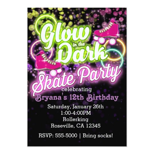 Glow in the dark skate party birthday invitation zazzle glow in the dark skate party birthday invitation filmwisefo
