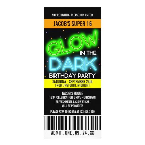 Glow in the Dark Super 16 Party Custom Invitation