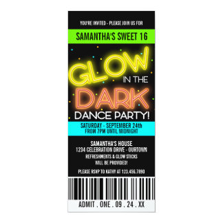 Glow in the Dark Sweet 16 Party Personalized Invitations