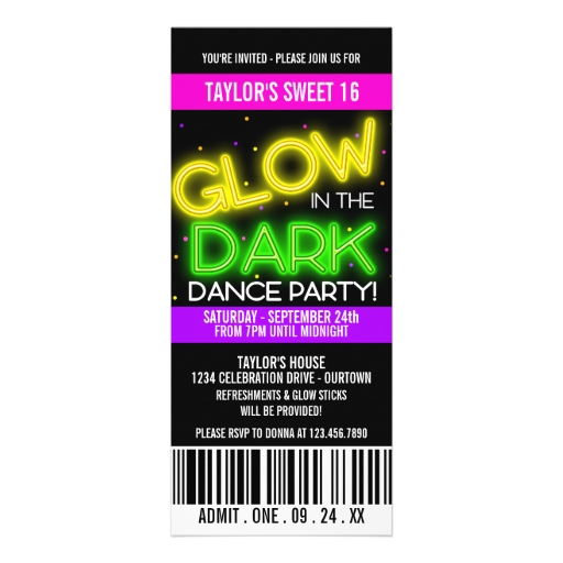 Glow In The Dark Party Invites is luxury invitations layout
