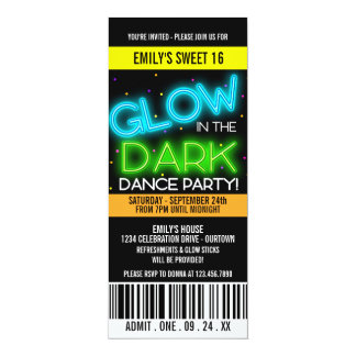 Glow in the Dark Sweet 16 Party Invite