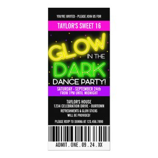 Glow in the Dark Sweet 16 Party Invitations