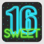 Glow in the Dark Sweet 16 Square Sticker