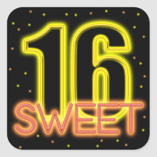 Glow in the Dark Sweet 16 Square Sticker