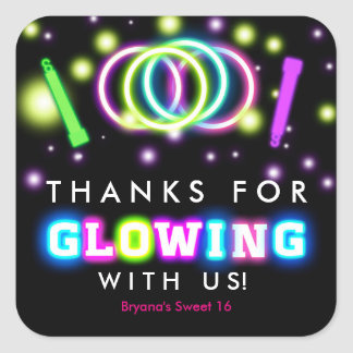 Glow Neon Lights Thank You Birthday Party Stickers