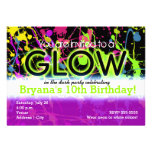 Glow Neon Paint Splatter Birthday Party Invitation Custom Announcements