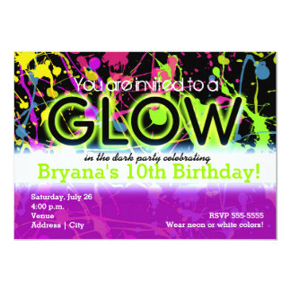 Glow Neon Paint Splatter Birthday Party Invitation Custom Announcements