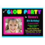 Glow Party Birthday Invitation Custom Photo