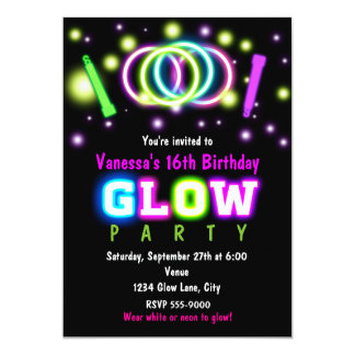 neon invitations  announcements  zazzle, Party invitations