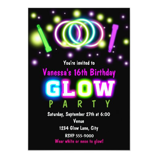 GLOW PARTY Birthday Neon Black Light Invitation | Zazzle