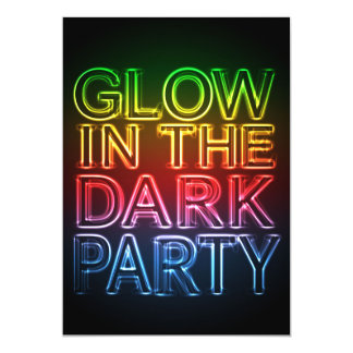 GLOW PARTY Glow in the Dark Birthday Party Card