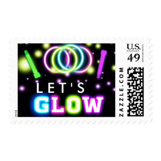 GLOW PARTY Neon Lights Party Postage Stamp