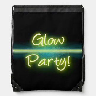 Glow Party, Yellow/Green Blacklight Drawstring Bag