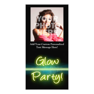 Glow Party, Yellow/Green Blacklight Photo Card