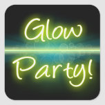 Glow Party, Yellow/Green Blacklight Square Sticker