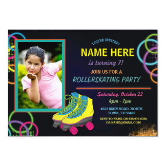 Glow Photo Roller Skating Birthday Invite