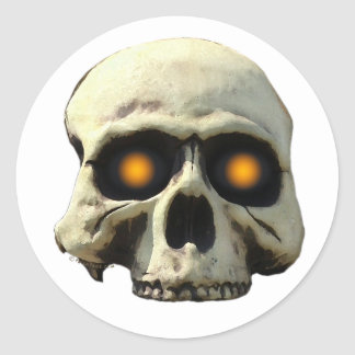 Glow Skull Classic Round Sticker