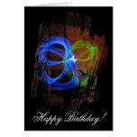 Glow Stick Flower; Happy Birthday Greeting Card