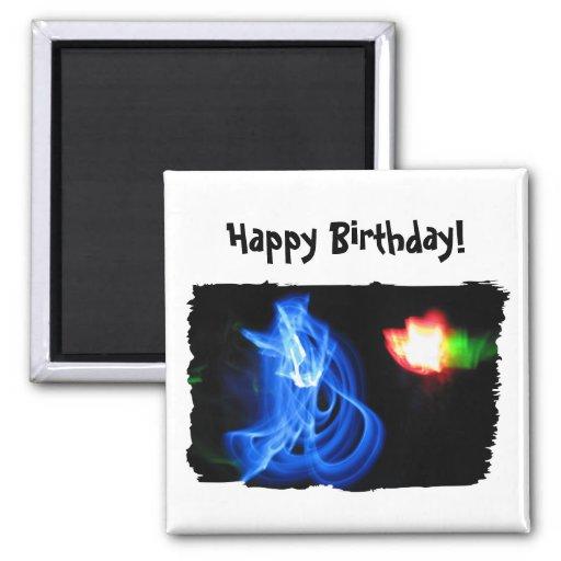 Glow Sticks Dancing in the Night; Happy Birthday Refrigerator Magnets