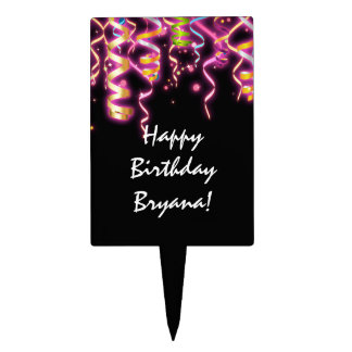 Glow Streamers Birthday Party Cake Pick Topper