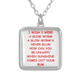 glow worm square pendant necklace