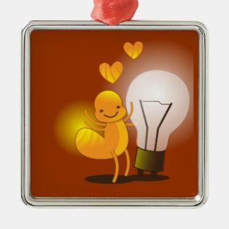 Glow Worm! with a light globe super cute! Metal Ornament