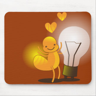 Glow Worm! with a light globe super cute! Mouse Pad