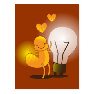 Glow Worm! with a light globe super cute! Postcard