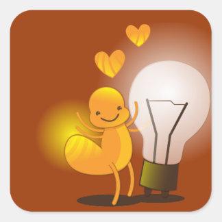 Glow Worm! with a light globe super cute! Square Sticker
