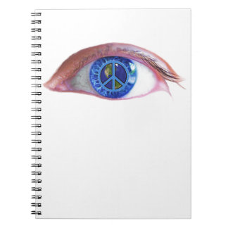 Glowees visualiza paz de mundo libro de apuntes con espiral