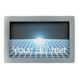 Glowing 3D-Grid with customizable text Rectangular Belt Buckle