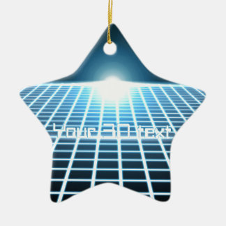 Glowing 3D-Grid with customizable text Ceramic Ornament