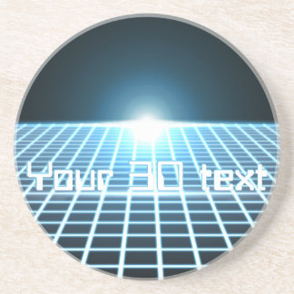 Glowing 3D-Grid with customizable text Drink Coaster