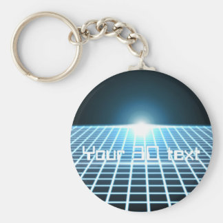 Glowing 3D-Grid with customizable text Keychain