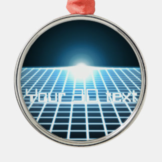 Glowing 3D-Grid with customizable text Metal Ornament