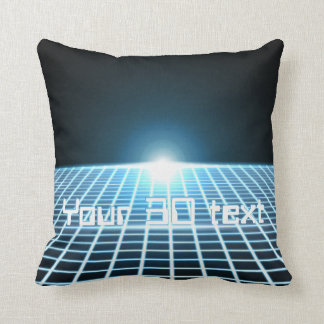 Glowing 3D-Grid with customizable text Pillows