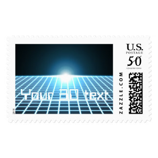 Glowing 3D-Grid with customizable text Postage
