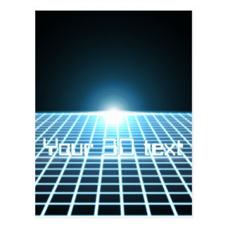 Glowing 3D-Grid with customizable text Postcard