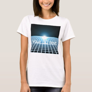 Glowing 3D-Grid with customizable text T-Shirt