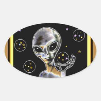 Glowing Alien - Oval Sticker