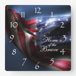 Glowing American Flag/Home of the Brave Square Wall Clocks