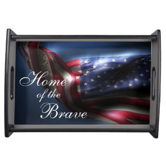 Glowing American Flag-Home of the Brave Serving Tray