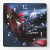 Glowing American Flag/Home of the Brave Square Wall Clock