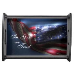 Glowing American Flag-In God we Trust Serving Platter